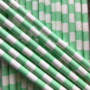 pajitas de papel color mint