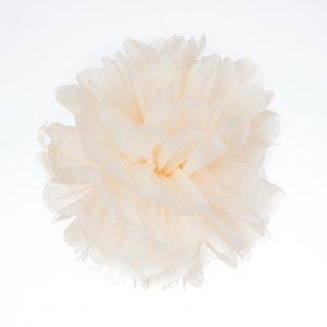 Pompon de papel de seda en color vainilla