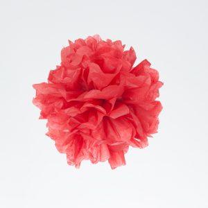 Fiestas en color rojo con pompones papel de seda
